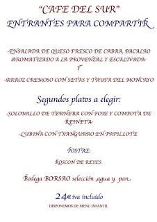 Menú de Reyes en el Café del Sur (domingo, 6)