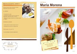 Menú semanal en María Morena (del 14 al jueves, 17)