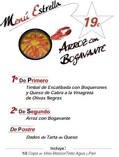 Menú con bogavante (marzo)
