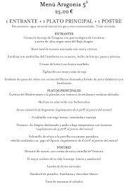 Nuevos menús a precio cerrado en Aragonia