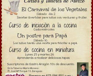 Cursos de cocina avalados por GASTRO ARAGÓN (marzo)
