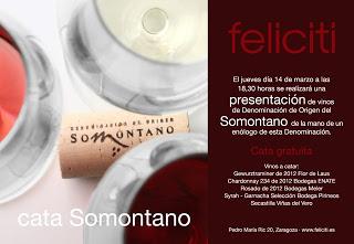 Cata de vinos DOP Somontano en Feliciti (jueves, 14)