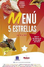 Certamen de restaurantes Menú 5 estrellas (del 21 de marzo al 28 de abril)