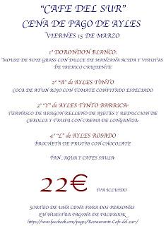 Cena maridada en el Café del Sur (viernes, 15)