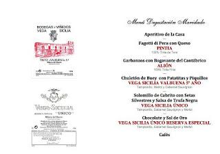 Cena maridada con Vega Sicilia (jueves, 25)