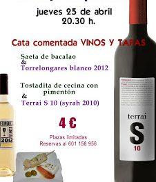 Cata de vino y tapa (jueves, 25)