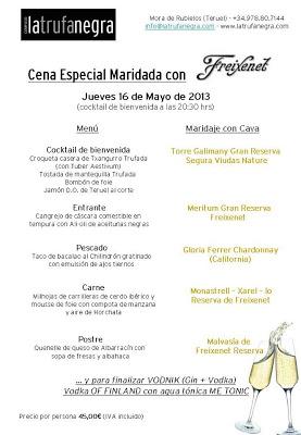 Cena maridada con Cava Freixenet en La Trufa Negra, 16 de mayo