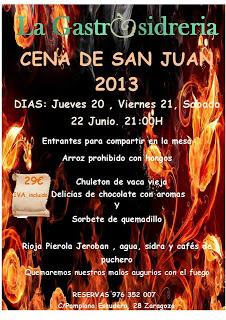 Menú para la noche de san Juan en la Gastrosidrería (del 20 al 22 de junio)