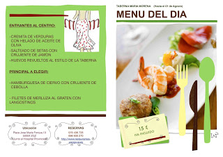 Menú semanal en María Morena (del 22 de julio al 1 de agosto)