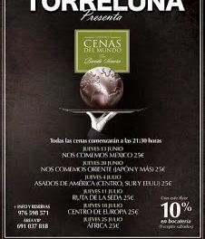 """Cenas maridadas """"Nos comemos el mundo"""", en Torreluna (jueves, 4)"""