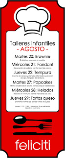 Talleres infantiles de cocina (del 27 al 29)