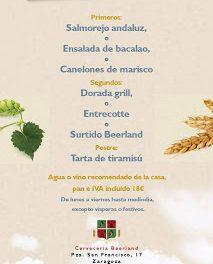 Menú del día en Beerland (de lunes a viernes)