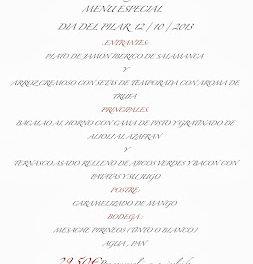 Menú del Dia del Pilar en el Café del Sur (sábado, 12)