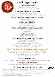 Menú degustación Fiestas del Pilar en Meccano (del 4 al 13 de octubre)