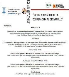 """Jornadas de Reflexión: """"Retos y Desafíos de la Cooperación para el Desarrollo"""" (del 11 al 13)"""