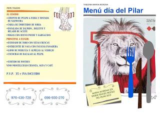 Menú del día del Pilar en María Morena (sábado, 12 de octubre)
