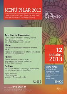 Menú del día del Pilar en el Hotel Silken Reino de Aragon (sábado, 12 de octubre)