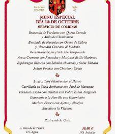 Menú del Día del Pilar (sábado, 12 de octubre)