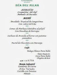 Menú del Pilar en Gayarre (sábado, 12)