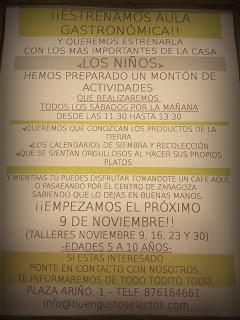 Aula gastronómica para niños en Buen Gusto (sábados de noviembre)