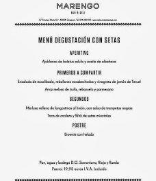 Menú degustación con setas (noviembre)