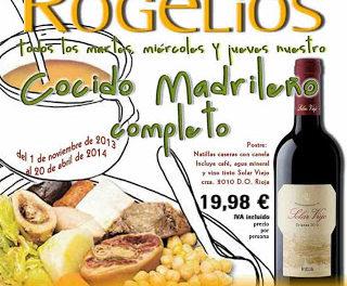 Menú Cocido madrileño completo (martes, miércoles y jueves, hasta el 20 de abril de 2014)