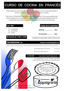 Talleres de cocina en inglés y francés (desde el 23 de noviembre)