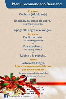 Menú recomendado en Beerland (diciembre)