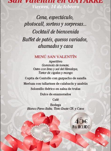 Cena de san Valentín en el Gayarre (viernes, 14)
