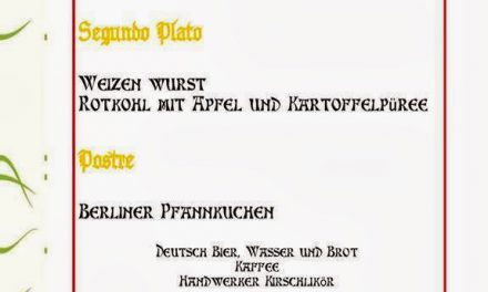 Cena vegana alemana (sábado, 22)
