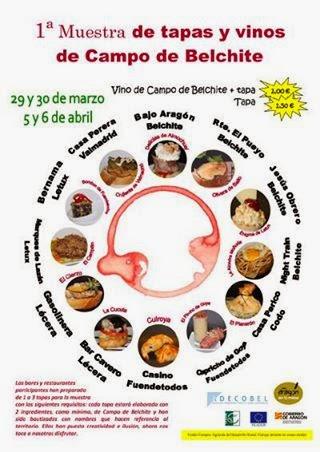 I Muestra de tapas y vinos de la comarca de Belchite (29 y 30 de marzo; 5 y 6 de abril)