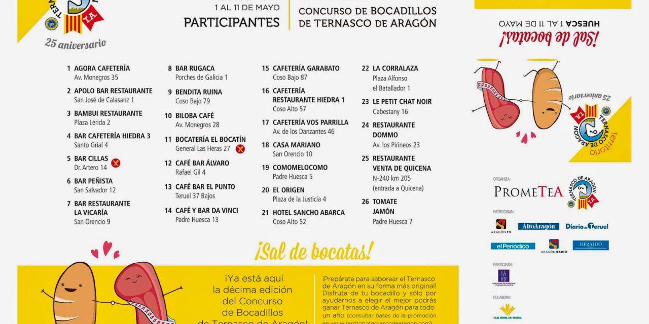 Concurso de bocadillos de Ternasco de Aragón en Huesca (del 1 al 11 de mayo)