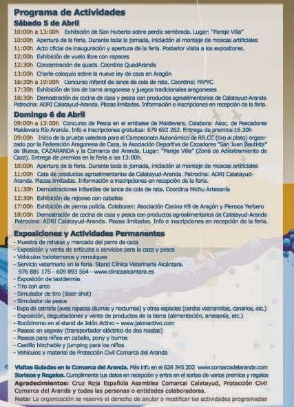 Feria de caza, pesca y turismo en Illueca (días 5 y 6 de abril)