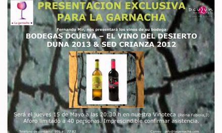 Presentacion del vino del desierto en La Garnacha (jueves, 15)