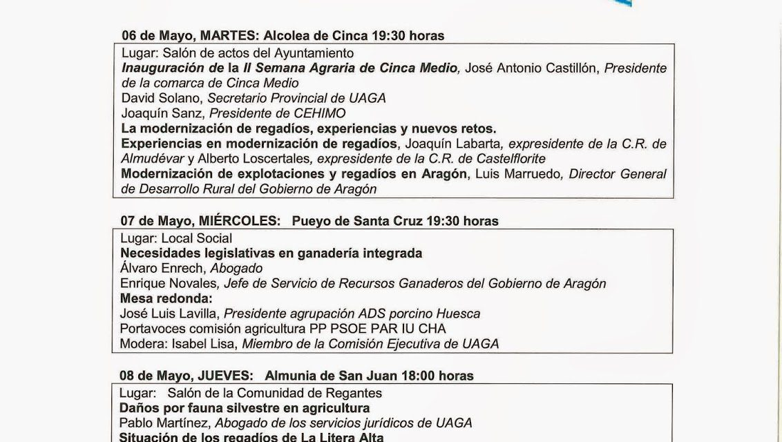 Semana agraria (del 6 al 9 de mayo)