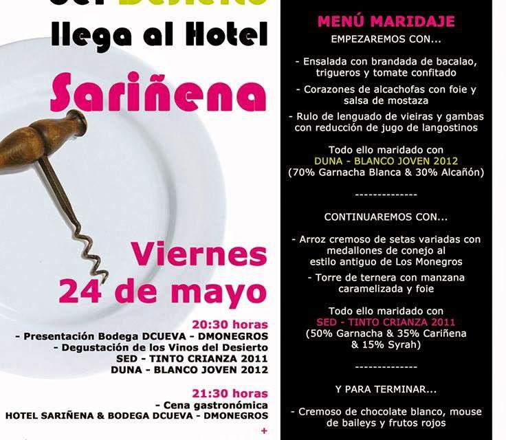 El Vino del Desierto llega al Hotel Sariñena (viernes 24)