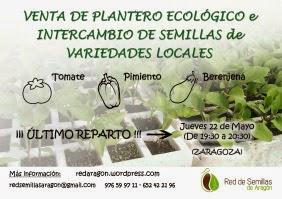 Última venta de plantero ecológico e intercambio de semillas (22 de mayo)