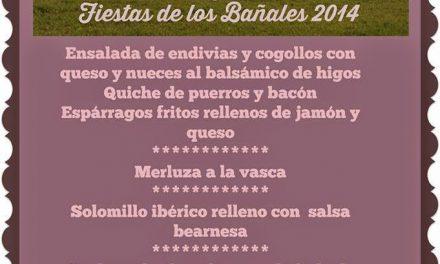 Menú de Uncastelo para las Fiestas de los Bañales 2014 (sábado 24 y domingo25)