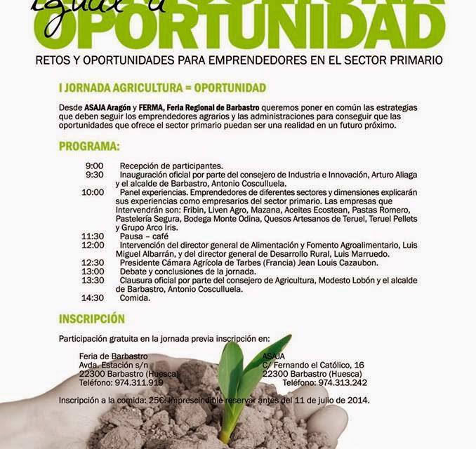 I Jornada Agricultura igual a oportunidad (viernes 18)