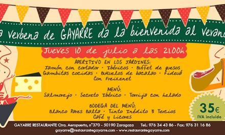 Cena de bienvenida al verano en Gayarre (jueves, 10)