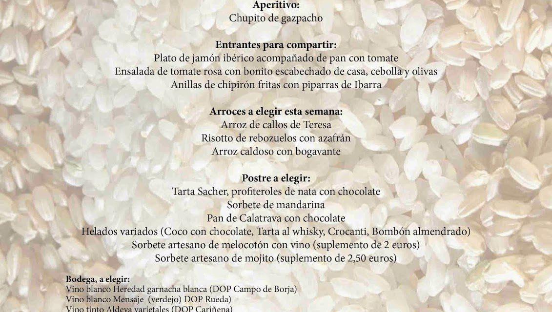 Menú arroces (Brazal) de verano en El candelas (hasta el sábado, 20)