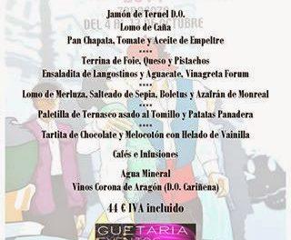 Menú del día del Pilar Guetaria Eventos (domingo, 12 de octubre)