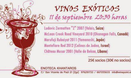 Cata de vinos exóticos (jueves, 11)