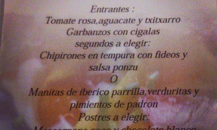 Menú semanal en Urola por 17 euros (hasta el 6 de septiembre)