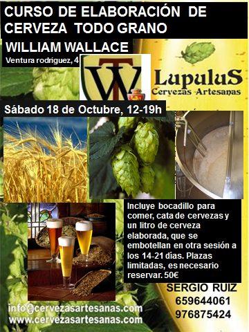 Curso de elaboración de cervezas todo grano (sábado, 18)