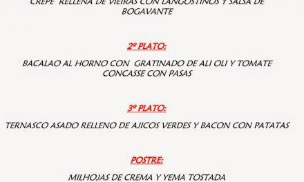 Menú del Pilar en el Café del Sur (domingo, 12)