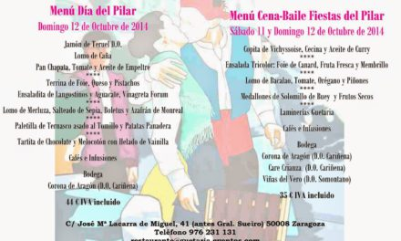 Menú cena baile pilares en Guetaria Eventos (sábado y domingo, 11 y 12 de octubre)