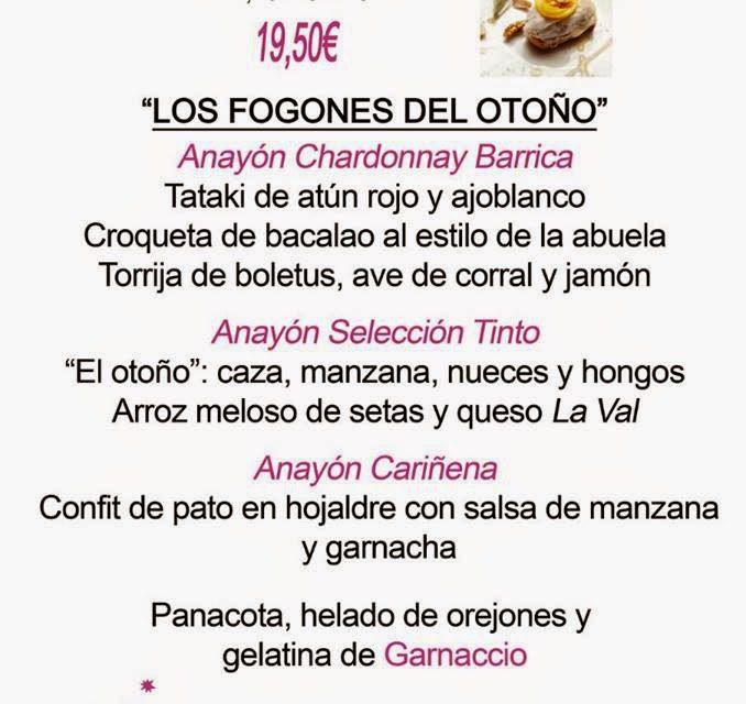 ARAGÓN CON GUSTO. Maridaje con los vinos Anayón (jueves, 30)