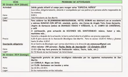 Jornadas micológicas (25 y 26 de octubre)