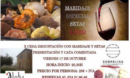 Cena maridada, setas y vino (viernes, 17)